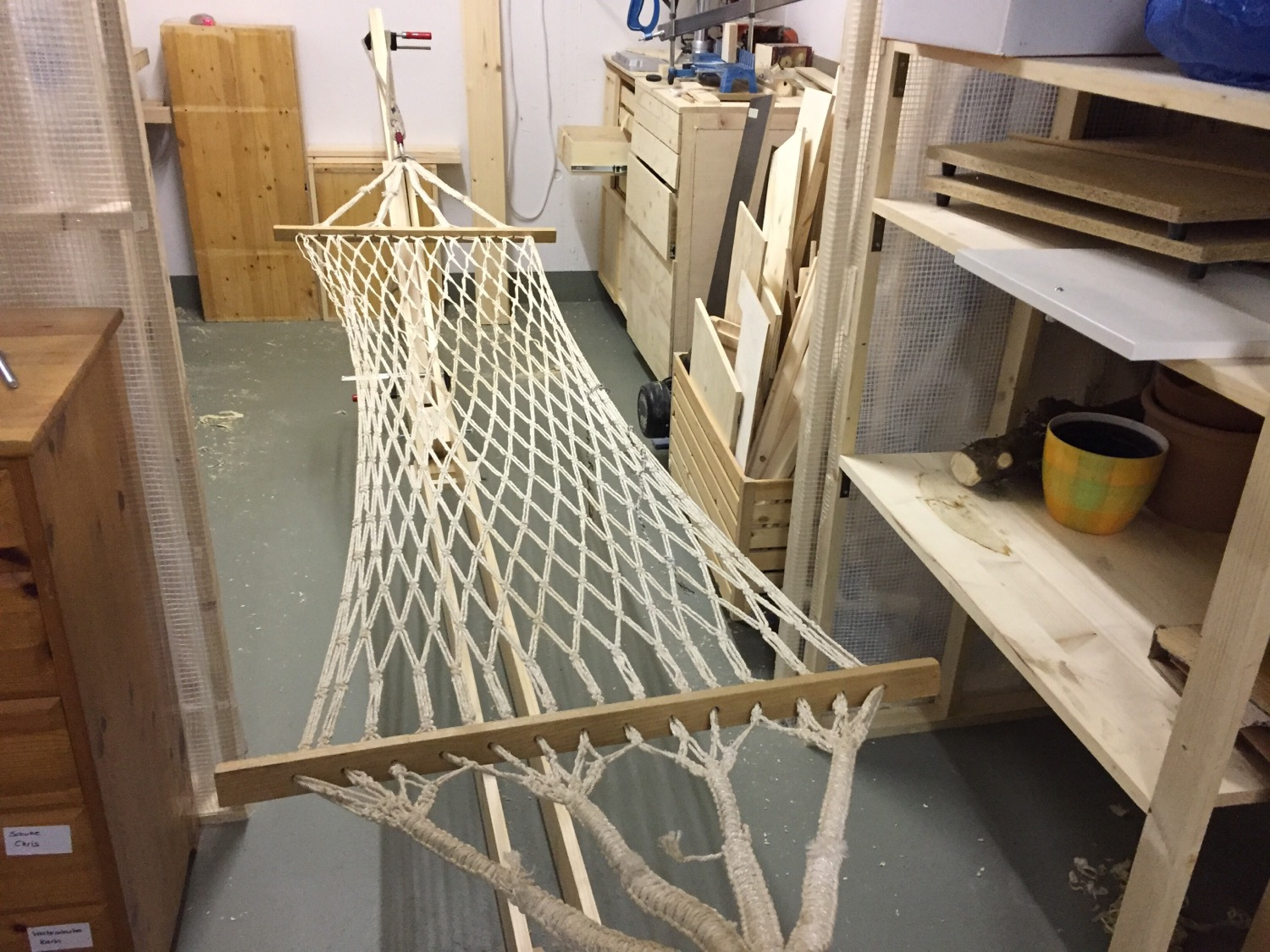 Working on my hammock stand. Not quite finished but it works.