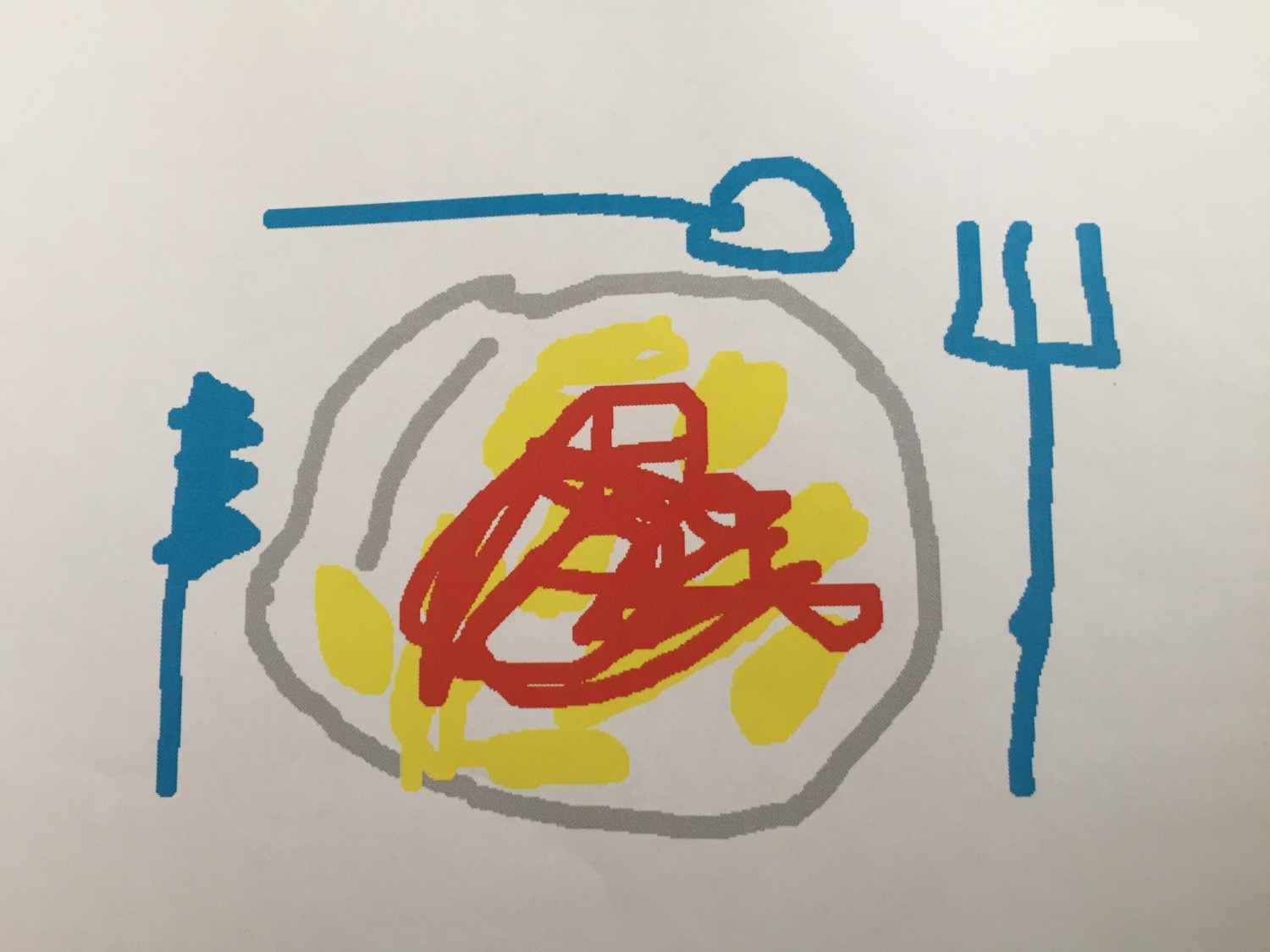 An image drawn by my daughter picturing my favorite meal, Pasta with tomato sauce.