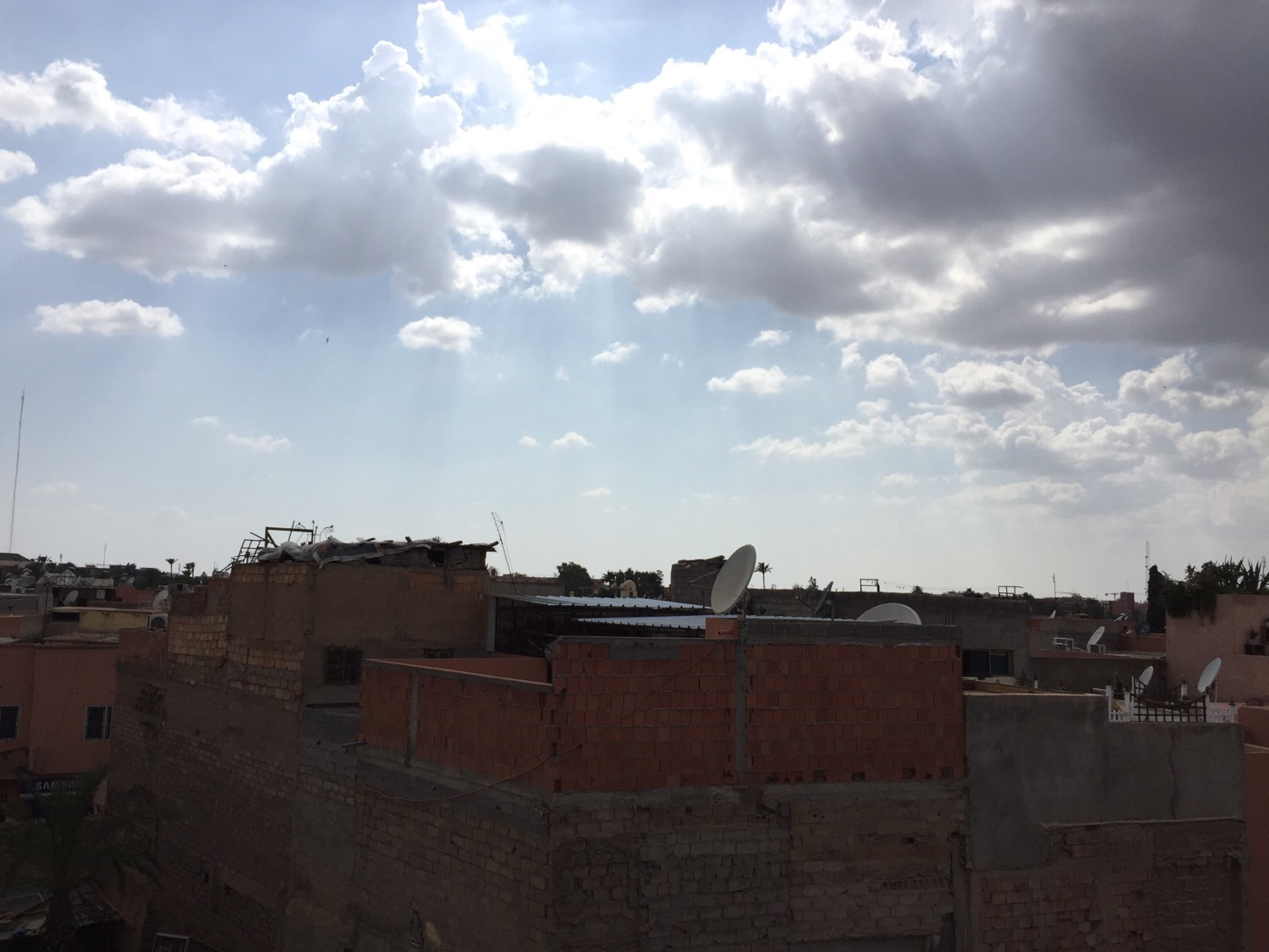 On a rooftop in Marrakech.