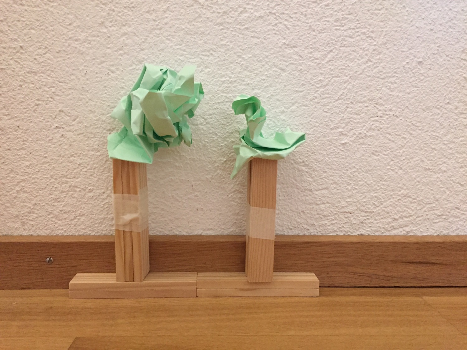 Trees from paper and Kaplas - designed by my daughter.