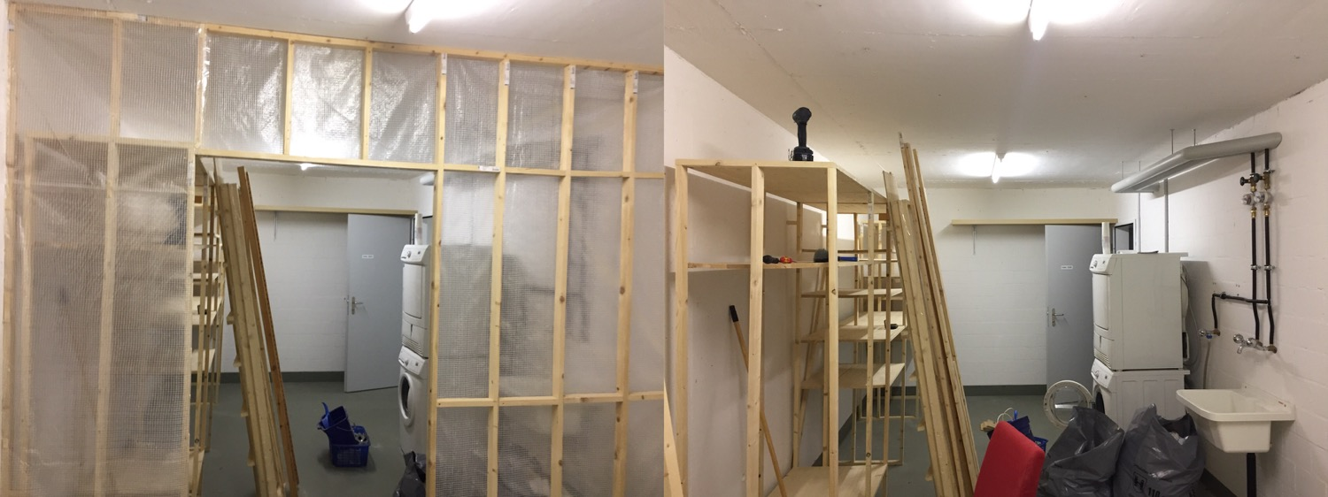 Removed the wall to my woodshop today. Left side is with the wall still standing. On the right side the wall is gone.