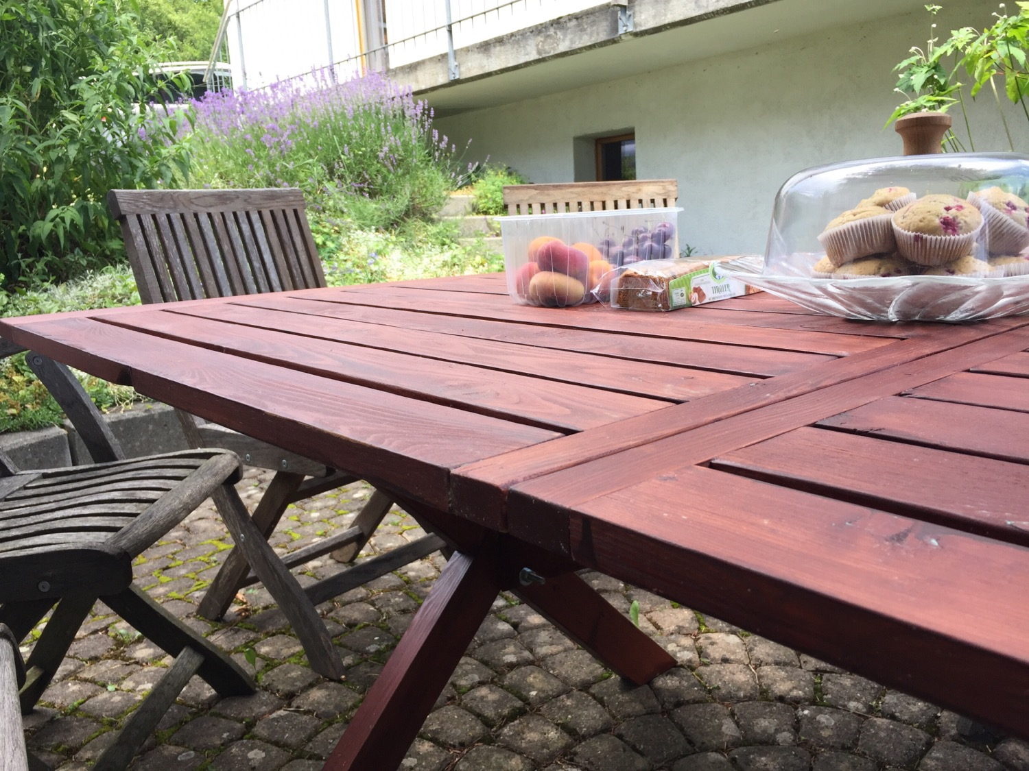 The table after being outside for nearly a year.