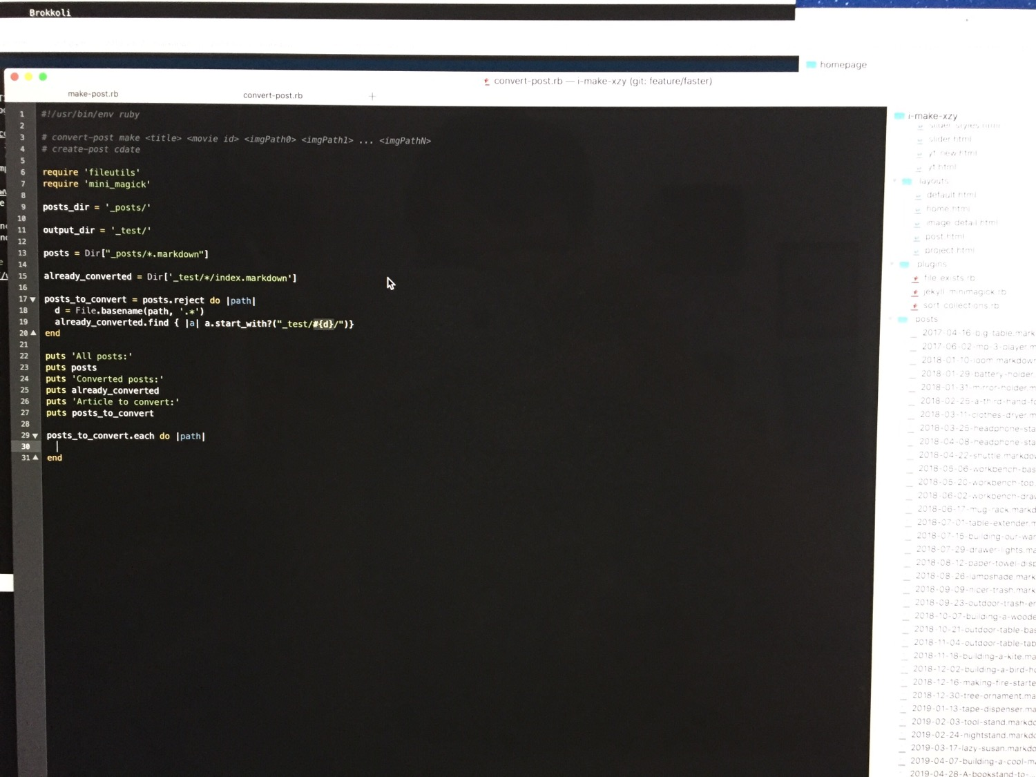 Working on a conversion script for my project homepage.