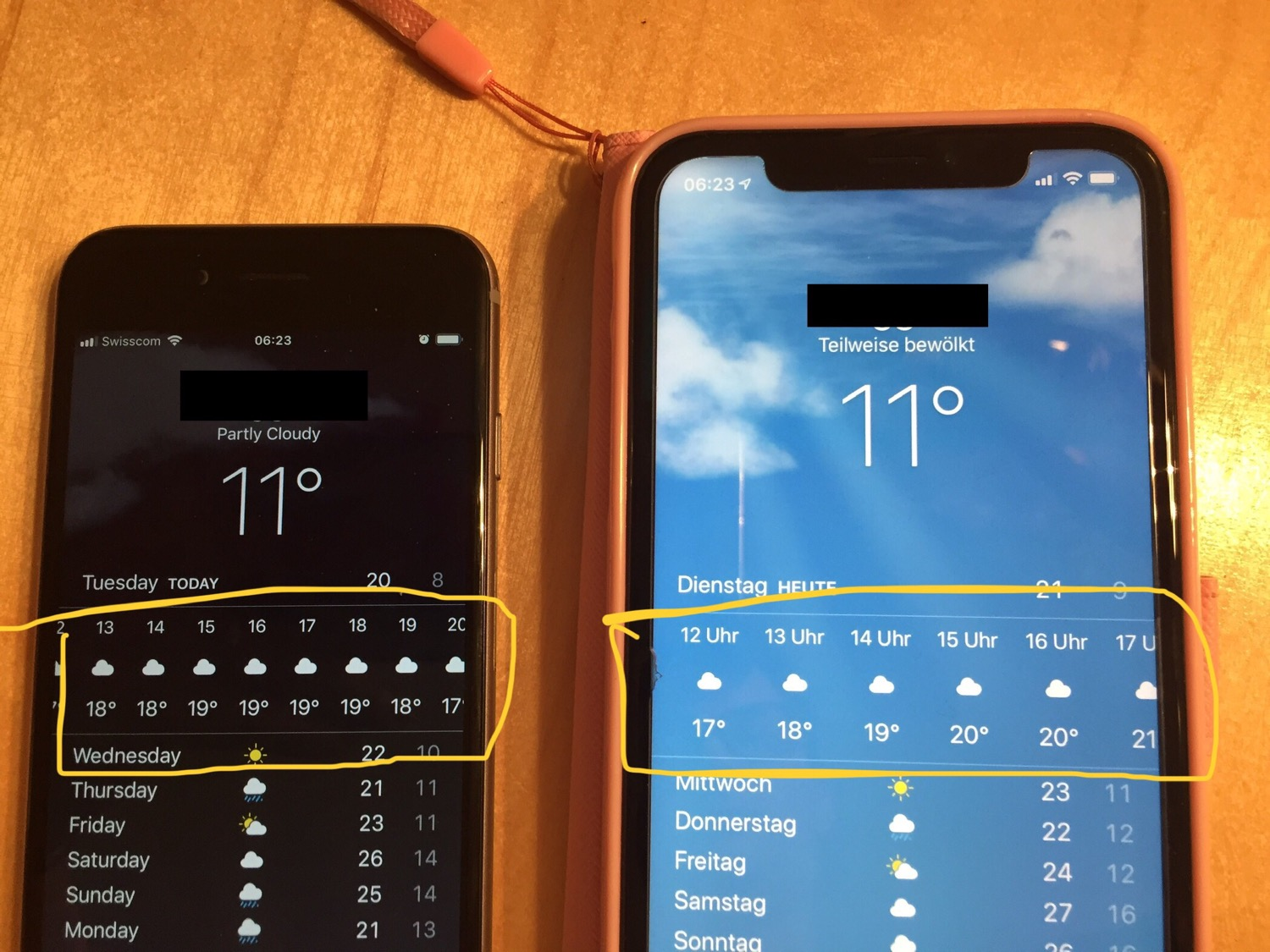 Two iPhones with the weather app set to the same location - showing different temperatures for the day.
