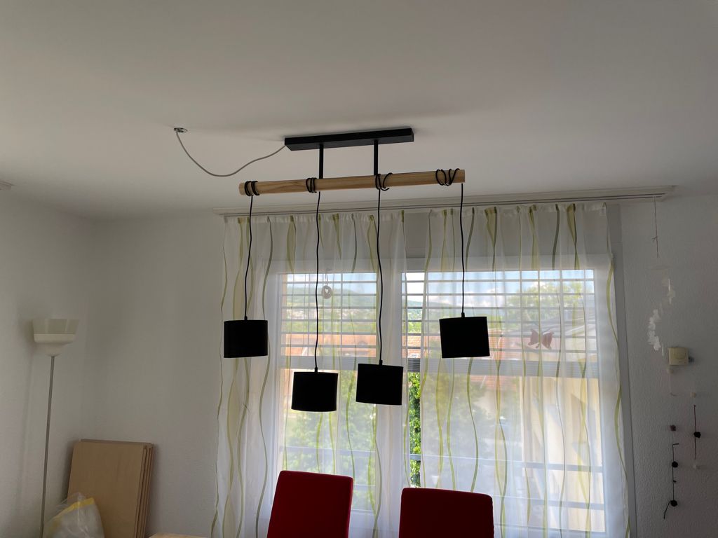 Today  I installed the first permanent light fixture in our flat — after living here for more than 1.5 years.