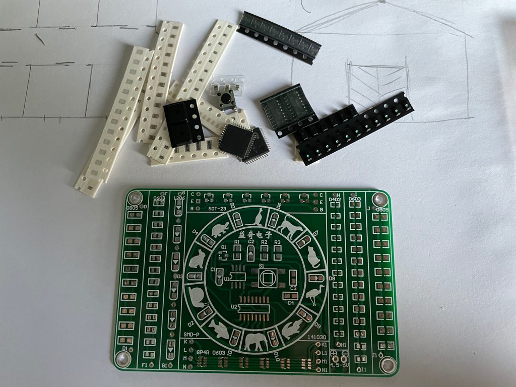 I got a example board to try learning soldering SMD components.