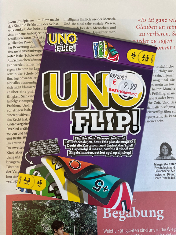 Not sure I like this new variant of UNO. Its called UnoFlip and uses the back side of the cards for a second set of cards.